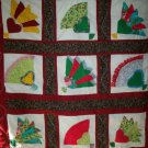 handmade baby lap quilt 9 block applique fan 43 inches by 41 inches