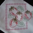 embroidered dish towel tea towel 30 by 38 inches  passion fruit strawberrys cotton fabric