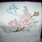 hand embroidered 1 pillowcase with 1 decorative bed pillow roses blue bird vine of tea roses
