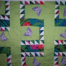 handmade quilt flower blossoms butterflys 45 by 31 inches