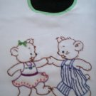 baby bib hand embroidered teddy bears lets jitter bug handmade