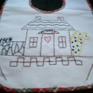 baby bib hand embroidered noahs ark they came 2 by 2 handmade