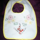 baby bib hand embroidered butterfly roses and daisies handmade