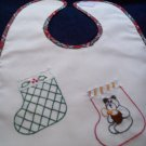 baby bib hand embroidered handmade Christmas stockings teddy bear holly