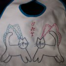 baby bib embroidered by hand cat angels one black one gray