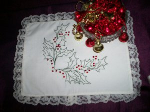 hand embroidered holly and berrys Christmas dollie white lace handmade