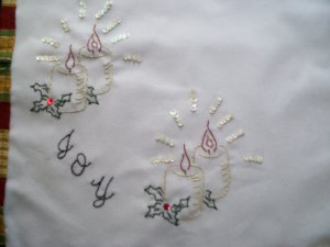 hand embroidered Joy candles Christmas dollie handmade