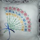 decorative throw pillow bouquet of lasy daisies red blue yellow white lace with bead work