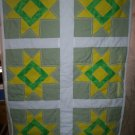 quilt star light star bright yellow green 30 inches by 45 inches handmade