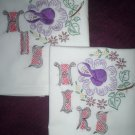 hand embroidered handmade set of 2 pillowcases his and hers lavender rose