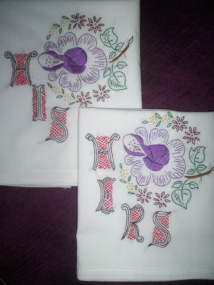 set of 2 pillowcases his and hers lavender rose
