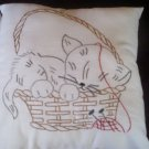 hand embroidered 1 pillowcase 1 decorative bed pillow Kitty in a basket