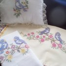 1 pillowcase 1 pillow 1 dresser scarf spring blue birds handmade