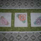 water lillies hand embroidered vanity dresser table scraf runner