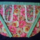 one size fits all kitchen waitress apron wild poppies fabric sage green ties