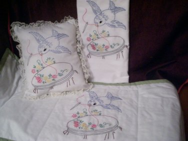 embroidered 1 pillowcase 1 bed pillow 1 dresser scarf blue bird sewing on vintage hoop