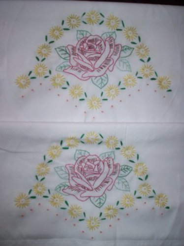 pillowcases star burst wild rose hand embroidered