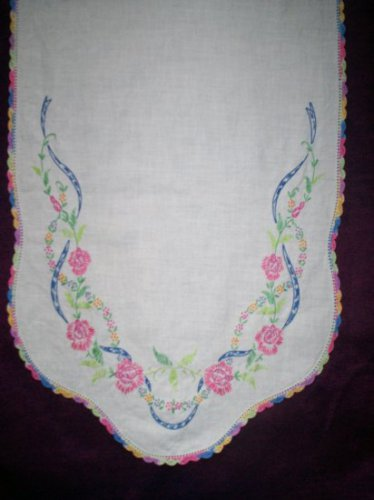 pink roses french knot wild flowers dresser scarf table runner