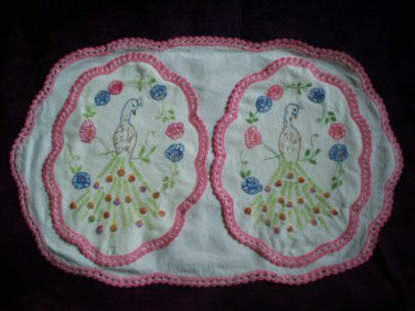 2 peacocks on 1 doily with pink crochet handcrafted