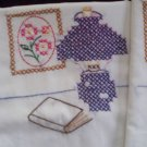 2 pillowcases cross stitch dark blue vintage lamp