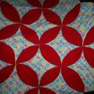 baby quilt handmade red with alphabets fleece 36 inches by 36 inches
