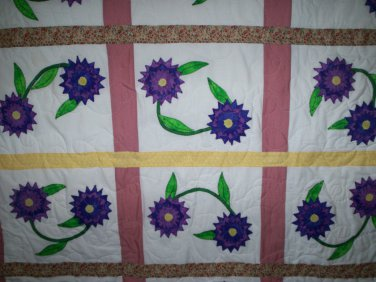 quilt blanket 20 block applique dark blue lavender flowers 55 by 54 inches handmade