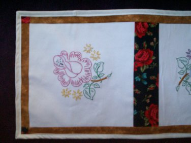 a rose hand embroidered vanity dresser table scarf runner