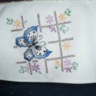 blue butterfly 2 slice toaster cover hand embroidered on white fabric