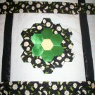 handmade bed quilt hexagon flowers daisys green satin yellow centers 61 inches by 58 inches