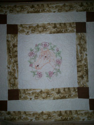 lap quilt horse with horse shoe of roses handmade 41 by 40 inches embroidered