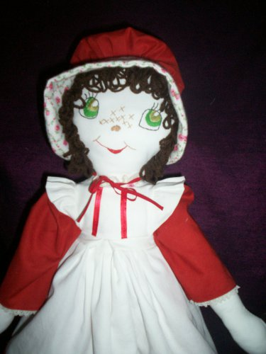handmade cloth doll brown hair green eyes 21 inches tall