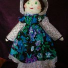 country cloth doll 21 inches tall blue flower handmade