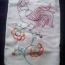 rooster on poppy flowers dish towel tea towel cotton fabric hand embroidered