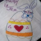 happy easter bunny dish tea towel hand embroidered