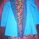 little girl rose handmade dress with reversable blue jacket