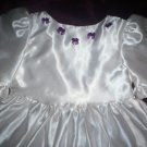 flower girl handmade dress white satin royal purple bows