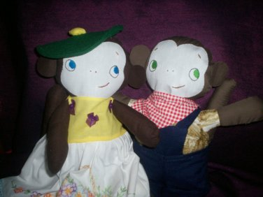 little brother big sister monkey doll handmade