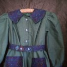 olive green southwestern blue motif dress handmade