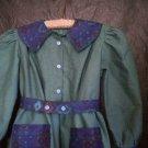 olive green southwestern blue motif size 4 dress handmade