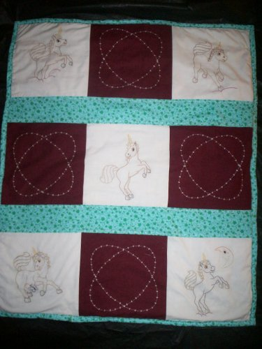 embroidered unicorn baby quilt handmade size 39 inches x 33 inches handcrafted
