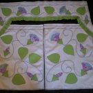morning glory's  window curtains 2 panel with valance handmade