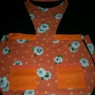 bib apron daisies on orange handmade
