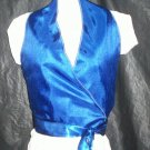teen wrap around halter top blue satin lining miss size 12 handmade