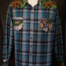 men's western shirt long sleeve blue plaid