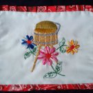country basket 2 slice toaster cover hand embroidered on white fabric