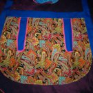 apron royal blue with paisley fabric handmade