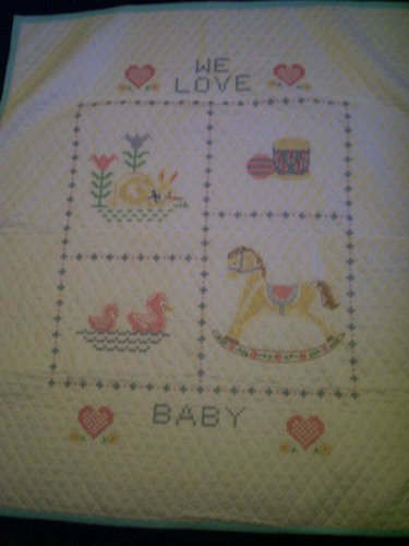 cross stitch baby quilt handmade we love baby 36 inches by 41 inches