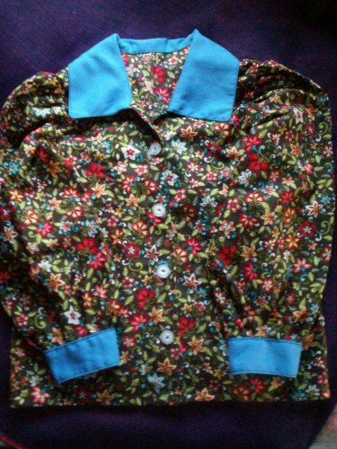 girl floral shirt size 5 light blue collar and cuffs hand created