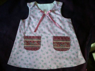 size 2T toddler sundress lavender and blue flowers white cotton lining
