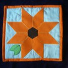 doll quilt orange sun burst handmade 14 inches by 14 inches